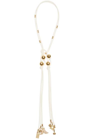 Chloé - White Brass & Wood Tie Necklace