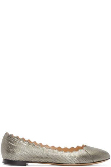 Chloé - Gunmetal Snakeskin Lauren Flats