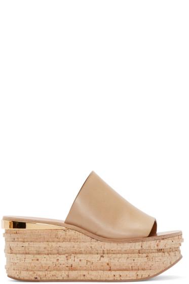 Chloé - Beige Leather & Cork Sandals