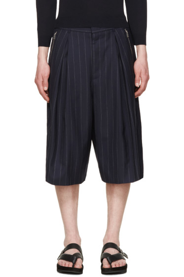 Juun.J - Navy Pinstripe Shorts