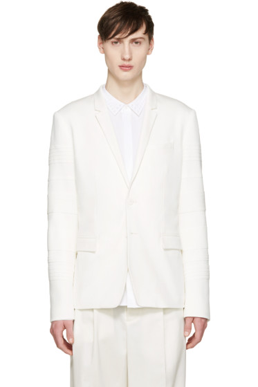 Juun.J - White Ribbed Sleeve Blazer