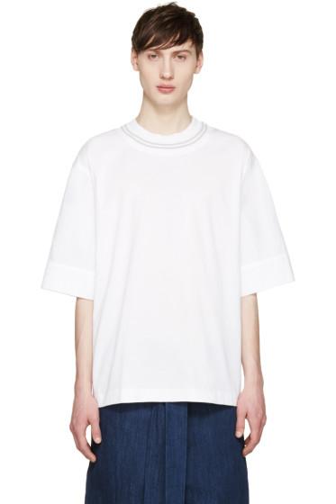 Juun.J - White Poplin Sleeve T-Shirt