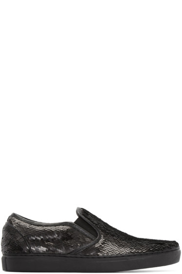 Juun.J - Black Sequin Slip-On Sneakers