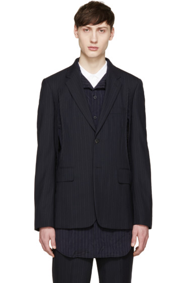 Comme des Garçons Homme Plus - Navy Wool Pinstripe Slit Blazer