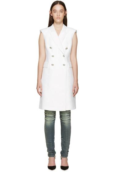 Pierre Balmain - White Long Double-Breasted Vest