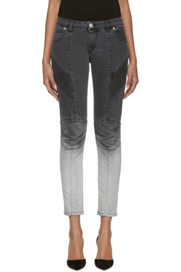 Pierre Balmain - Grey Two-Tone Biker Jeans