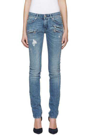 Pierre Balmain - Blue Zipper Skinny Jeans