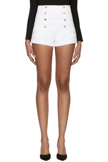Pierre Balmain - White Denim Buttoned Shorts