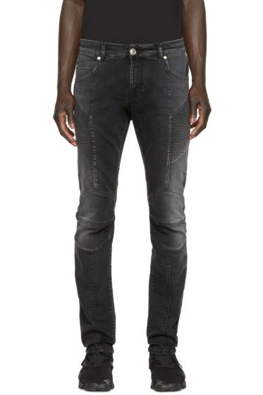 Pierre Balmain - Black Faded Biker Jeans
