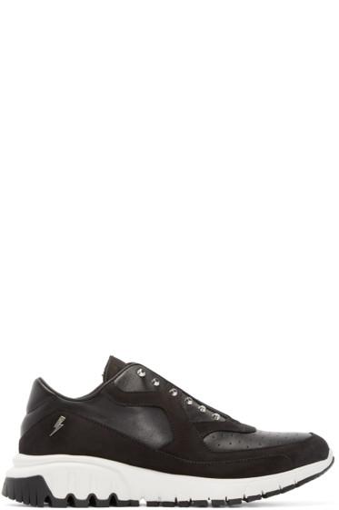 Neil Barrett - Black Studded Thunderbolt Sneakers