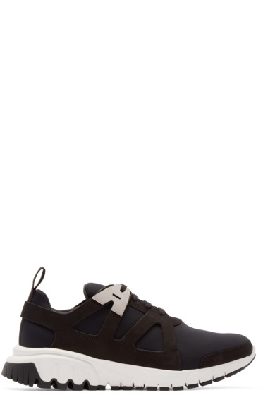Neil Barrett - Black Neoprene Molecular Sneakers