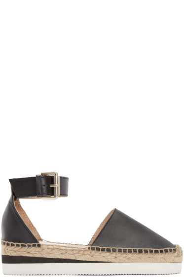 See by Chloé - Black Leather Sunset Espadrilles