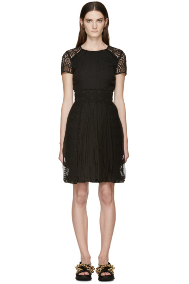 Burberry Prorsum - Black Silk Lace Panel Dress