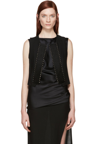 Ann Demeulemeester - Black Wool Studded Waistcoat