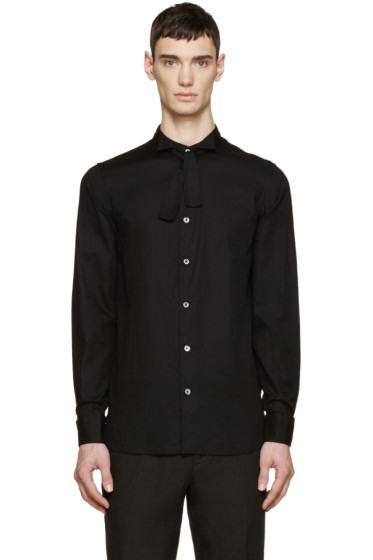 Ann Demeulemeester - Black Deconstructed Tuxedo Shirt