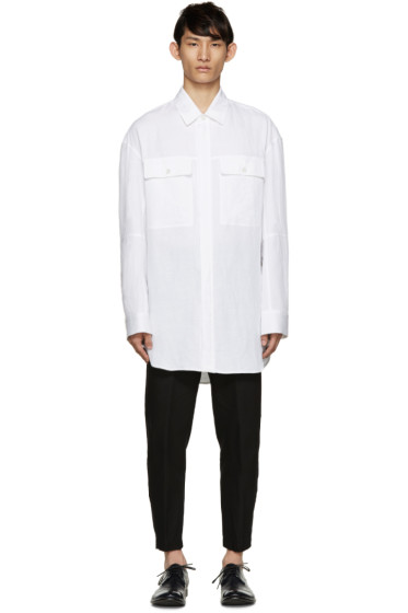 Ann Demeulemeester - White Long Ribbed Shirt