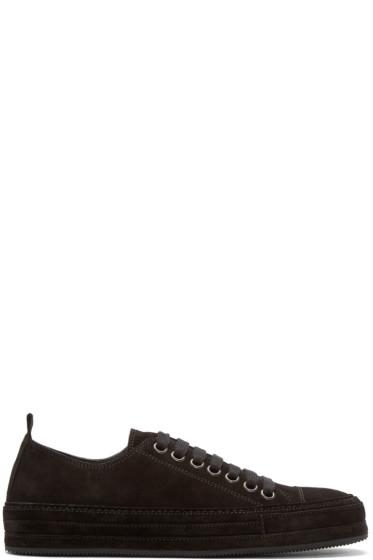 Ann Demeulemeester - Black Suede Low-Top Sneakers