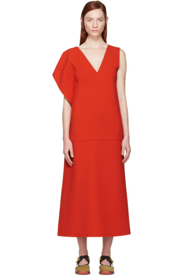Marni - Red Asymmetric Shoulder Dress