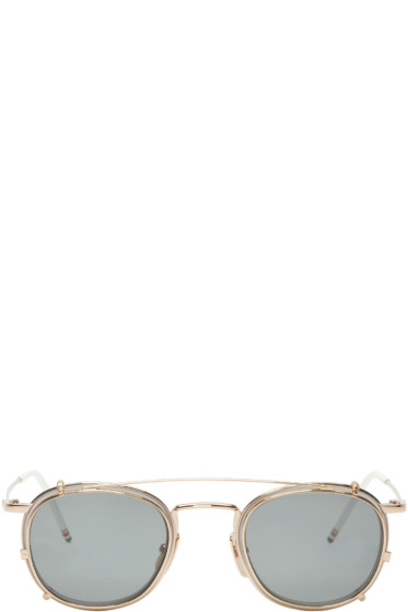 Thom Browne - White & Gold Clip-On Sunglasses