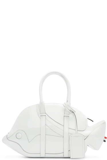 Thom Browne - White Patent Leather Trigger Reef Fish Duffle Bag