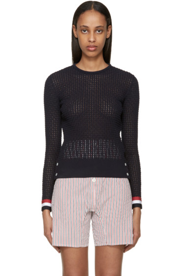 Thom Browne - Navy Ripple Stitch Sweater