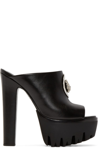 Versus - Black Leather Platform Mules
