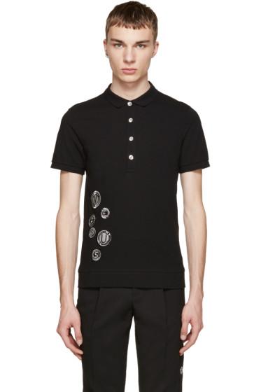 Versus - Black Embroidered Patch Polo