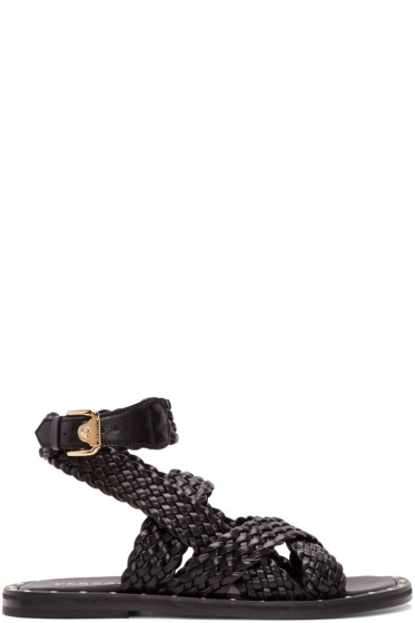 Versace - Black Braided Leather Sandals