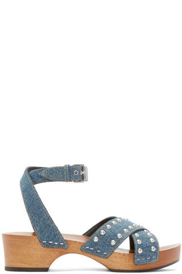 Saint Laurent - Blue Denim Clog Sandals