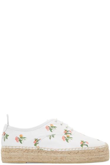 Saint Laurent - White Leather Floral Epadrilles