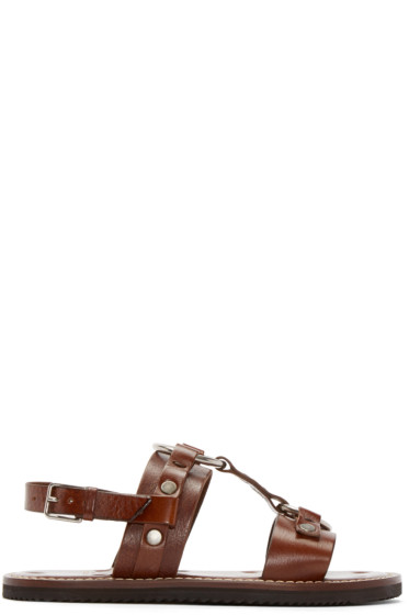 Saint Laurent - Brown Leather Hardware Sandals