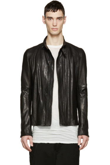 Julius - Black Leather Zip-Up Jacket