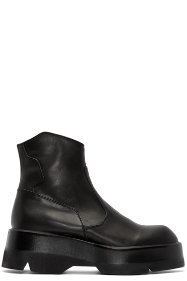 Julius - Black Leather Split Boots