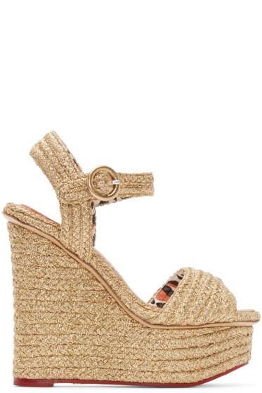 Charlotte Olympia - Gold Karen Wedge Sandals