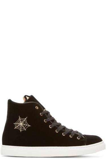 Charlotte Olympia - Black Velvet High-Top Purrrfect Sneakers