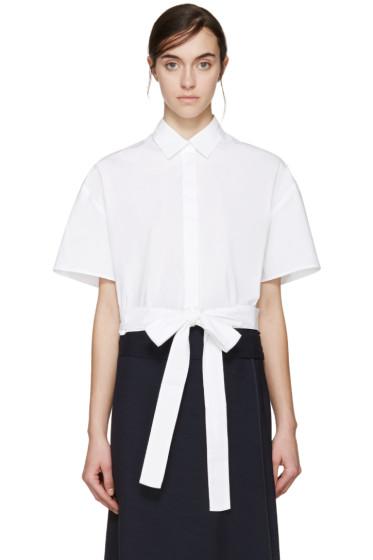 MSGM - White Cropped Tie Shirt