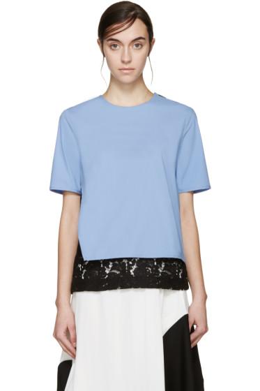 MSGM - Blue & Black Lace Underlay Blouse