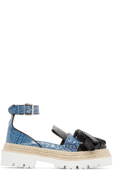 MSGM - Black & Blue Croc-Embossed Tassel Loafers