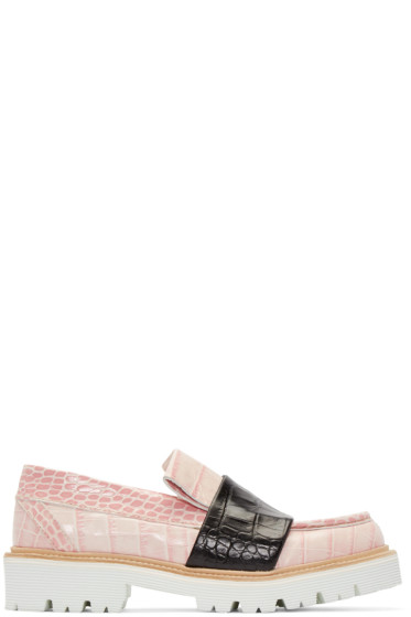 MSGM - Pink Croc-Embossed Leather Loafers