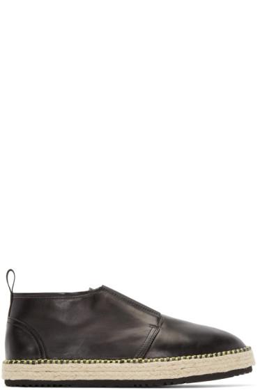 MSGM - Black Leather Espadrille Boots