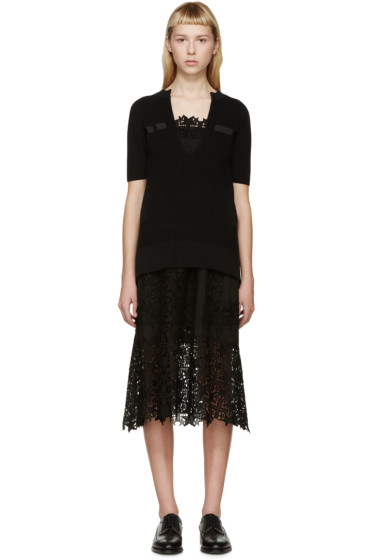 Sacai - Black Knit & Star Lace Dress