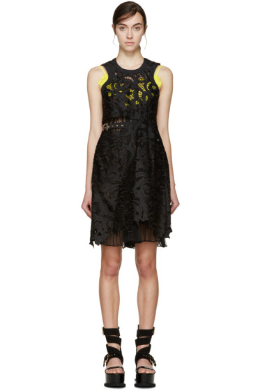 Sacai - Black & Yellow Lily Lace Underlay Dress