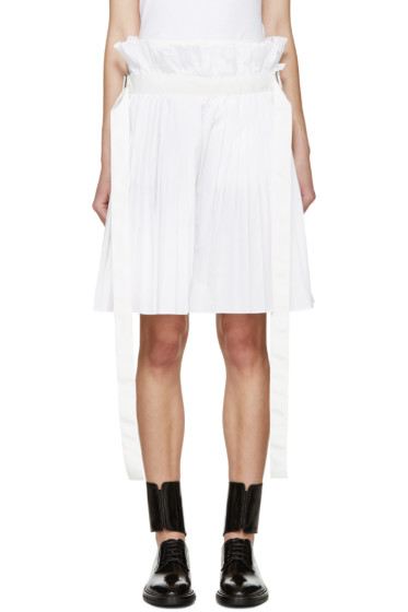 Sacai - White Pleated Shorts