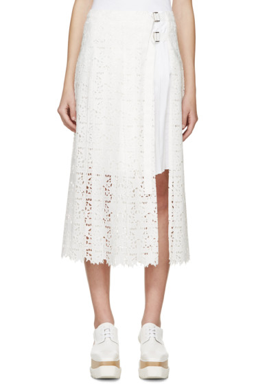 Sacai - White Pleated Lace Wrap Skirt