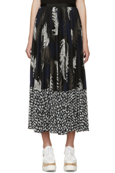 Sacai - Multicolor Pleated Leaf Print Skirt