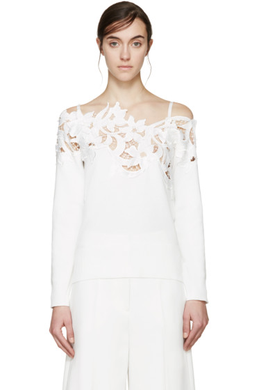 Sacai - White Lace Off-the-Shoulder Lily Sweater