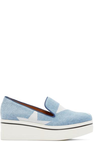 Stella McCartney - Blue Denim Platform Binx Sneakers