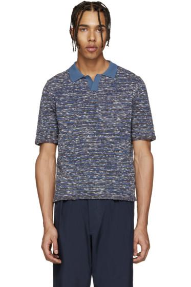 Umit Benan - Blue & Brown Knit Polo
