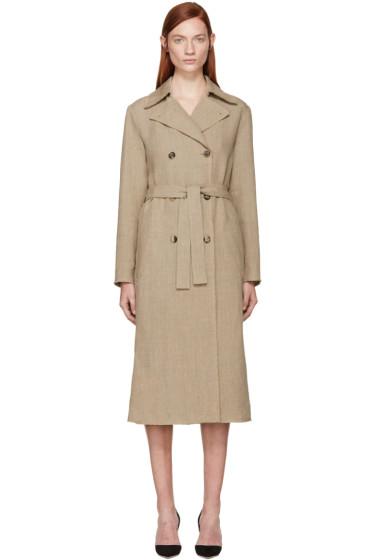 Nina Ricci - Beige Linen Canvas Trench Coat