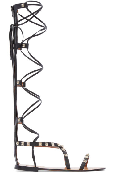 Valentino - Black Rockstud High Gladiator Sandals